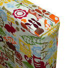 ll08t Orange Olive Yellow Owl On Beige Cotton Canvas 3D Box Seat Cushion Cover