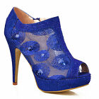 NEW Womens Bright Blue Rhinestone Ankle Booties High Heel Evening Peep Toe Shoe