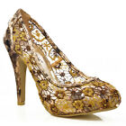 NEW Gold Ladies Women Floral Lace See-Thru High Heel Court Pumps Shoes Size