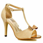 NEW Womens Beige Mid Heel Gold Bow Front T-Bar Ankle Strap Peep Toe Sandals Size
