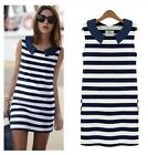 New Summer Women Sexy Korean Fashion Sleeveless Tops Stripe Stretch Tank Dress