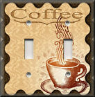 Metal Light Switch Plate Cover Cafe Coffee Kitchen Home Decor Coffee Brown Tan