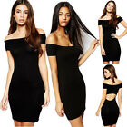 Women Vintage Open Back Off Shoulder Bodycon Cocktail ClubWear Party Mini Dress