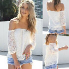 Ladys Hollow Lace Tops Women Sexy Off-shoulder Loose Casual T-Shirt Blouse S M L