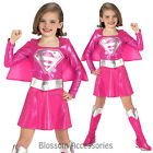 CK165 Pink Supergirl Superhero Hero Superman Fancy Dress Up Girl Kids Costume