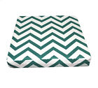le04t Deep Green On Beige Zig Zag Thick Cotton Canvas 3D Box Sofa Seat Cover Siz