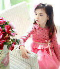 P114 Girl Pinks Wedding Party Dress Flowers Girls Dresses AGE SIZE 2,3,4,5,6,7T
