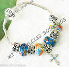 CROSS Charm Bracelet Blue Orange Boho Girls First Communion Teens Confirmation