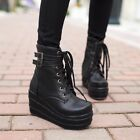 Womens Lace Up Punk Wedge Creeper Chunky Heel Pumps Shoes Ankle Boots Plus Size