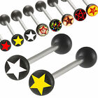 Pair Tongue bar barbell tounge piercing ring logo acrylic 9HKK-SELECT SIZE&STYLE
