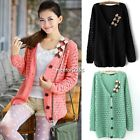 Womens Ladies Loose Jumper Hollow Hole V-Neck Knit Coats Cardigan Tops Sweater