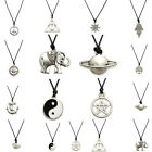 12 Style Tibetan Silver Pendant Necklace Choker Chains Charm Black Leather Cord