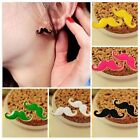 2014 Bright Candy Color Funny Mustache Curled Beard Ear Stud Moustache Earrings