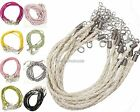 10 Pcs PU Leather Braided Rope Necklace Charms Findings String Cord 3mm