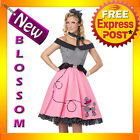 C803 Nifty 50's Grease Sandy Poodle Skirt Womens Halloween Fancy Dress Costume