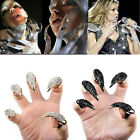 20pcs Wholesale jewelry lots Silver Black Claw Paw Crystal Finger Tips Nail Ring