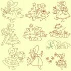 Sunbonnets @ Christmas Machine Embroidery Designs-Redwork-Anemone Embroidery Des
