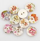 Hot 100pcs Flower Wood Painting Sewing Buttons 18mm 2 Holes Mixed style #10
