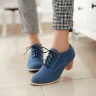 US4-11 Free shipp Womens shoes faux suede lace Up block mid heels oxfords brouge