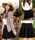 Fashion Lady/ Girl Stretch Waist Pleated Jersey Plain Skater Flared Mini Skirt