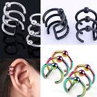Fashion Punk Stainless Steel Clip On Ear Cuff Triple Helix Earrings Non/Piercing
