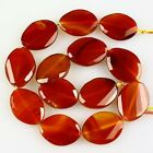 K59549 30x22x7mm Faceted Red agate ellipse loose beads 13pcs