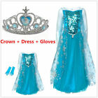 NEW Disney Store Elsa queen  Frozen Dress+Gloves+crown set  age 3-8Years