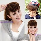 fashion retro style lady curly wavy short hairpiece clips-in hair extensions