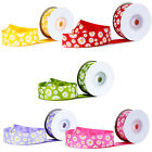 Various colours daisy patterned grosgrain ribbon 25mm 10 yards long