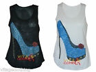 Womens Ladies Girls Glitter Shoe Heel Slub Tank Sleeveless Cami Vest Top 8-14