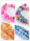 Matte Agate Gemstone Round Loose Beads For Necklace Bracelet Jewelry Making DIY