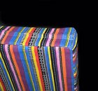 ak333t Pink Yellow Blue Purple Stripe Cotton Canvas 3D Box Seat Cushion Cover