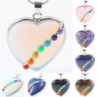 7 Chakra Gemstone Quartz Amethyst Opal Stone Heart Charms Pendant Fit Necklace