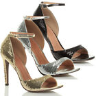 WOMENS LADIES HIGH HEEL SEQUIN PARTY EVENING PROM ANKLE STRAP SANDALS SHOES SIZE