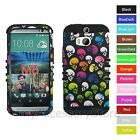 For HTC One M8 Colorful Skull Hard & Rubber Hybrid Rugged Impact Case Cover