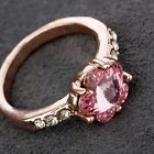 Pink Flower Rhinestone Crystal Cocktail Ring 18K Rose Gold Plated