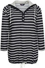 Yoursclothing Womens Plus Size Striped Hooded Top With Button Detail