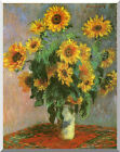 Vase with Sunflowers Flowers Claude Monet Repro Stretched Canvas Fine Art Print