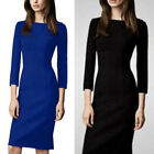 Elegant 3/4 Sleeve Slit Hem Womens Career Formal Business Pencil Dress Zipper