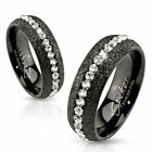 Stainless Steel Glittering Black Eternity Band with Clear CZs Ring Size 5-13