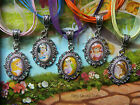 DISNEY PRINCESS PENDANT NECKLACE GLASS DOME SNOW WHITE RAPUNZEL BELLE ARIEL OVAL