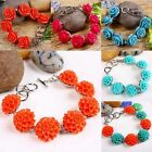 Coral Flower Floral Rose Hortensia Beads Cuff Wristband Bracelet Bangle Jewelry