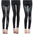 Womens Stretch Faux Leather Striped Splice Leggings Skinny Jeggings Pants Tights