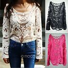 New Women Semi Sexy Sheer Long Sleeves Embroidery Floral Lace Crochet Top Blouse