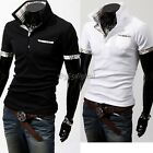 NEW Mens Slim Fit Casual POLO Shirt Short Sleeve Casual T-shirts Tee Tops