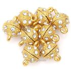5 Pcs Golden Round Ball Crystal Rhinestone  Magnetic Clasps For DIY Jewelry 8mm