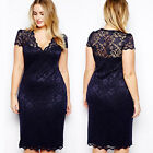 Womens Celebrity V-Neck Floral Lace Party Cocktail Bodycon Midi Evening Dress