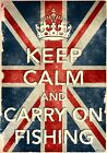KCV22 Vintage Style Union Jack Keep Calm Carry On Fishing Funny Poster A2/A3/A4