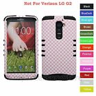 For LG G2 3D Pink Checker Pattern Hard & Rubber Hybrid Rugged Impact Case Cover