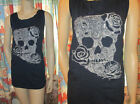 NWT $45 LANE BRYANT Rock GOTH Rockabilly REBEL Embroidered SKULL + ROSE Tank Top